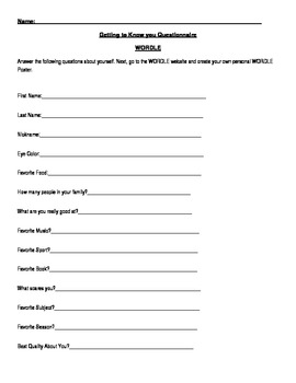 Questionnaire to get to know someone