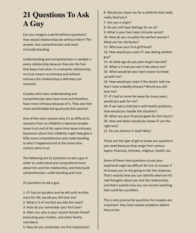 Questions to ask boyfriend to get to know him