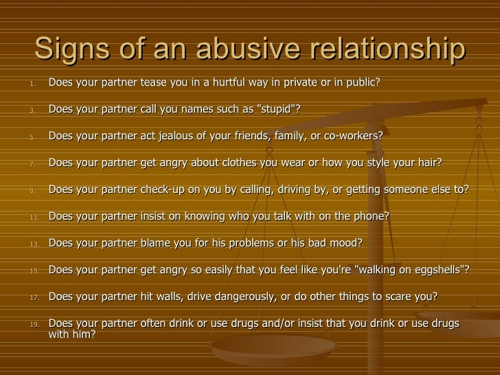 Signs of a abusive man