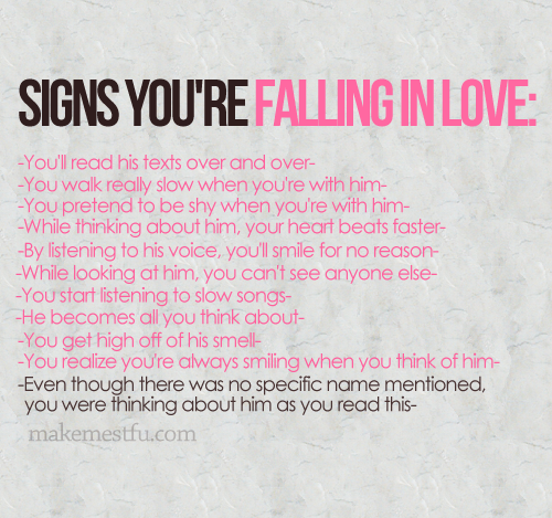 Signs you are in love with him