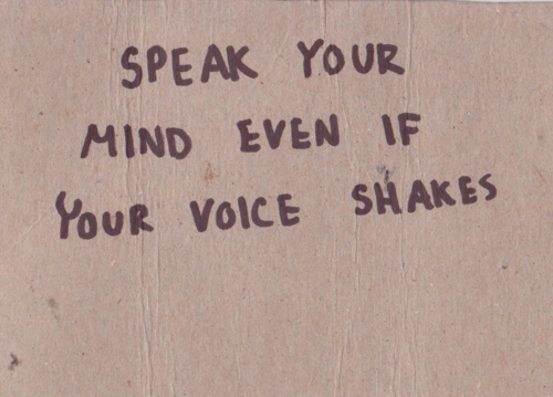 Speaking up for yourself
