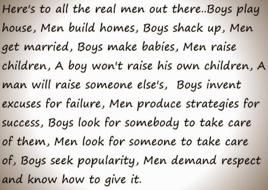 The difference between a man and a boy