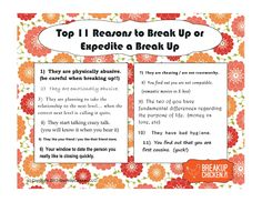 Top 10 reasons for breakups