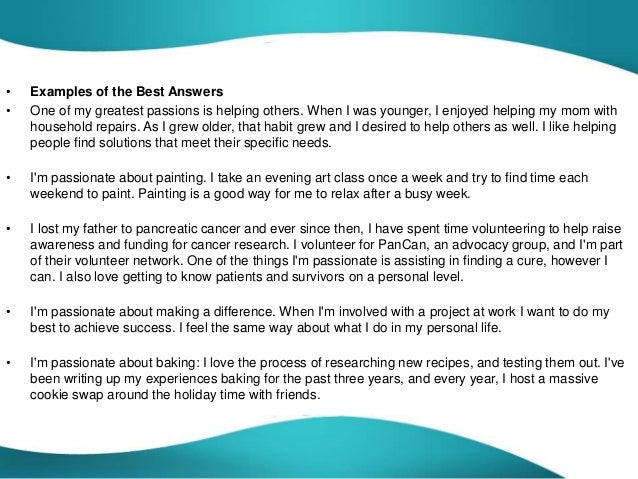 What are you passionate about answers