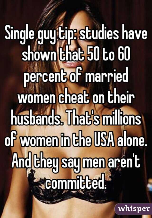 What percentage of women cheat on their husbands