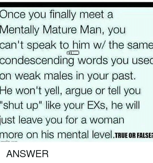 When does a man mature emotionally