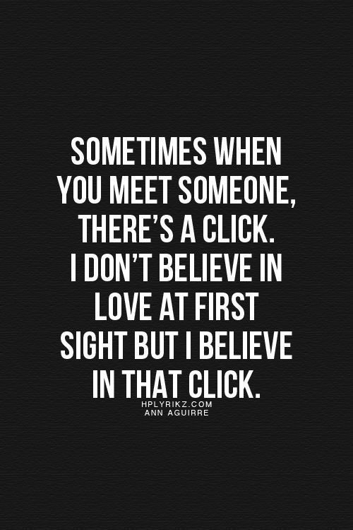 When you click with someone right away