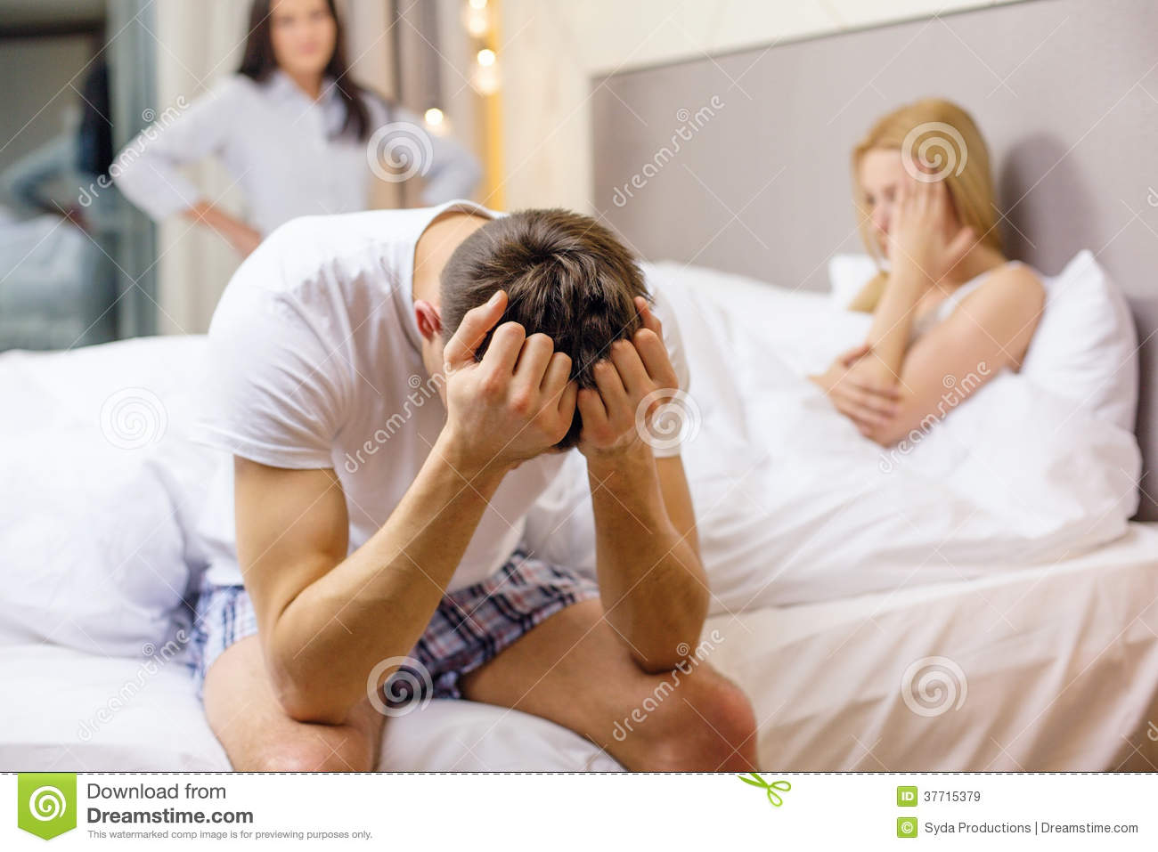Women in bed with another woman