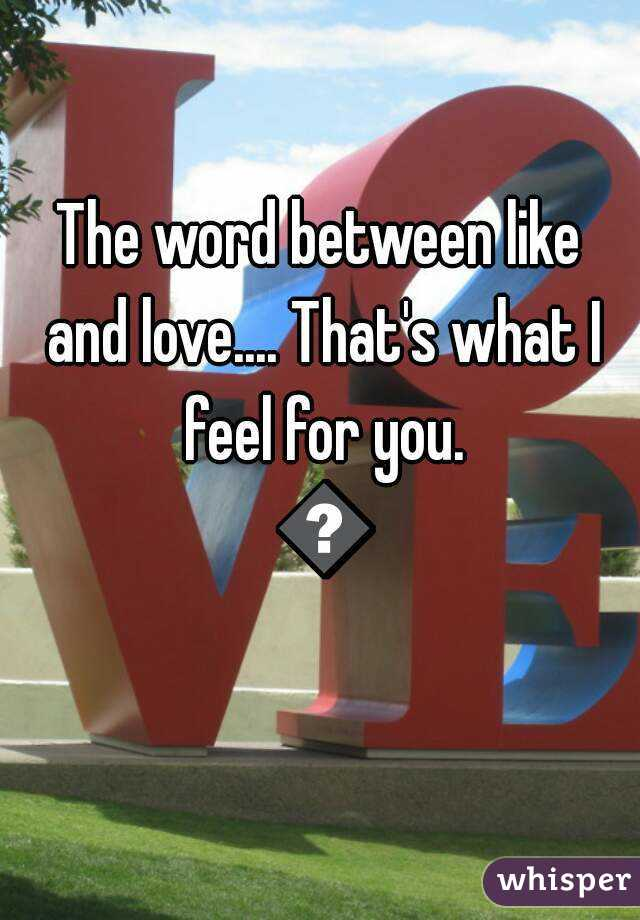 Word between love and like
